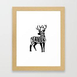 Hello Deer - White and Black Deer Framed Art Print