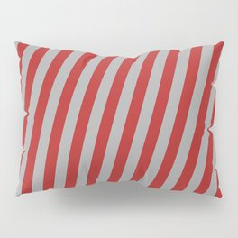 Red and Dark Grey Colored Lines Pattern Pillow Sham