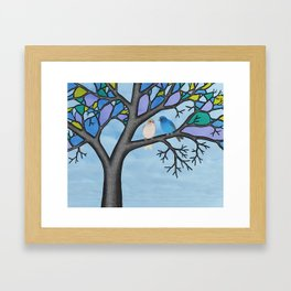 indigo buntings in the stained glass tree Framed Art Print