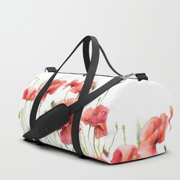 Spring Poppies Papaver Meadow Red Poppies White and Red Watercolor Duffle Bag