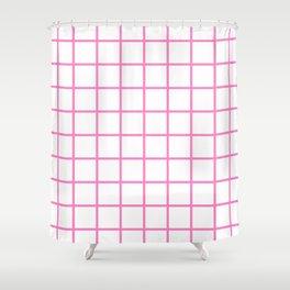 GRID DESIGN (PINK-WHITE) Shower Curtain