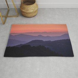Purple sunset at the mountains. Last night Rug