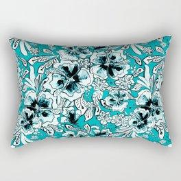 Vintage Teal Floral Pattern Rectangular Pillow