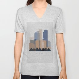 Miami vertical skyline design Unisex V-Neck