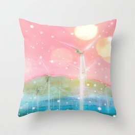 wind turbine in the desert with snow and bokeh light background Throw Pillow