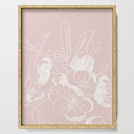 Floral Ink - Winter Roses in Blush Pink Serving Tray
