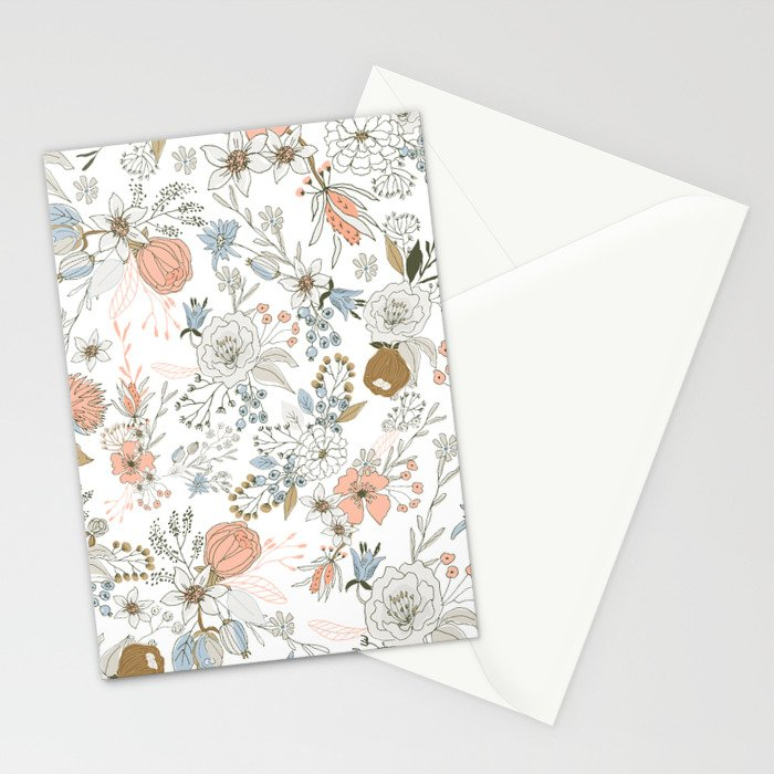 Abstract modern coral white pastel rustic floral Stationery Cards
