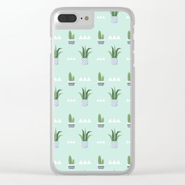 Modern teal green white triangles cactus floral pattern Clear iPhone Case