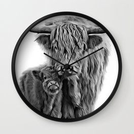 Highland Cow and The Baby Wall Clock