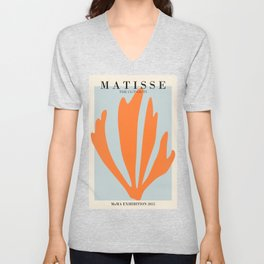 Henri matisse the cut outs blue and orange contemporary, modern minimal art Unisex V-Neck