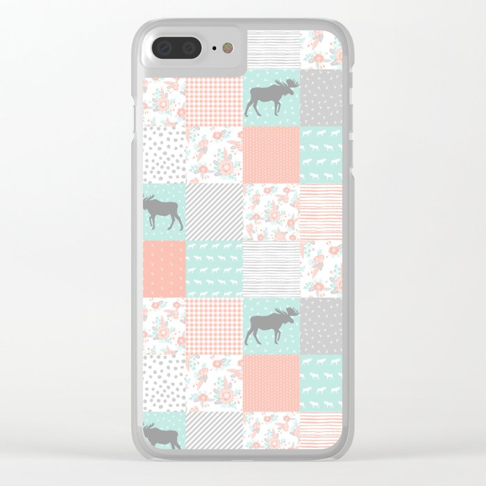 Modern quilt pattern square quilt baby nursery gender neutral gifts for new baby room Clear iPhone Case