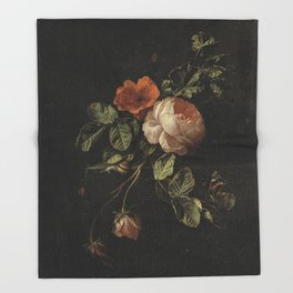 Botanical Rose And Snail Throw Blanket