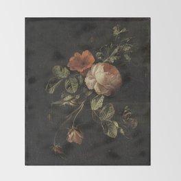 Botanical Rose And Snail Throw Blanket