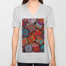 V1 Traditional Moroccan Colored Stones. Unisex V-Neck