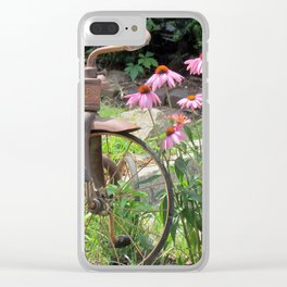 tricycle  and flowers Clear iPhone Case