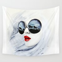 sunglasses Wall Tapestries featuring Wild Horses by anna hammer