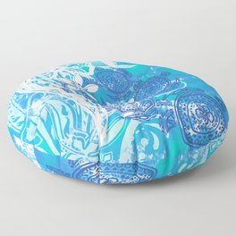 Samoan Tribal Turtle Ocean Spray Floor Pillow