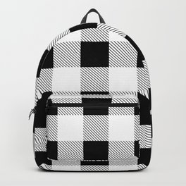 western country french farmhouse black and white plaid tartan gingham print Backpack