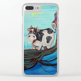 Cow In A Tree Clear iPhone Case