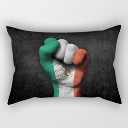 Mexican Flag on a Raised Clenched Fist Rectangular Pillow