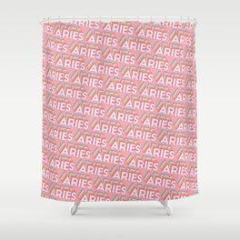 Aries Trendy Rainbow Text Pattern (Pink) Shower Curtain