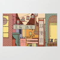 china Area & Throw Rugs featuring China Town by James White