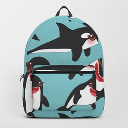 Cartoon grampus orca, Kawaii whale, sea wolf Backpack