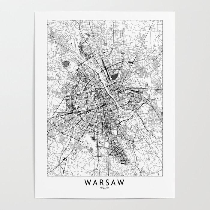 Warsaw White Map Poster