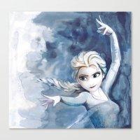 frozen elsa Canvas Prints featuring Elsa Frozen by r3nd0s