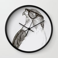 hawk Wall Clocks featuring Hawk with Poor Eyesight by Phil Jones