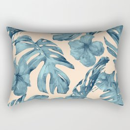 Island Vacay Hibiscus Palm Pale Coral Teal Blue Rectangular Pillow