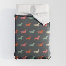 Dachshund Silhouettes | Colorful Patterned Wiener Dogs Comforters