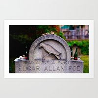 edgar allen poe Art Prints featuring Original Burial Place of Edgar Allen Poe by Ann Yoo