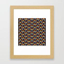 Happy Rainbow (Many On Black) Framed Art Print