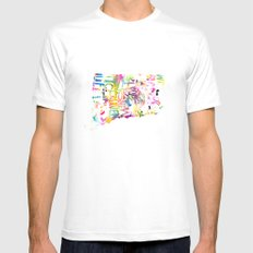 Typographic Connecticut - multi watercolor White Mens Fitted Tee MEDIUM