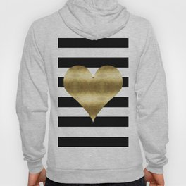 gold heart black and white stripe Hoody