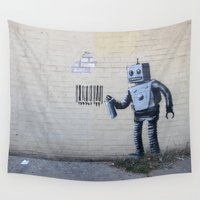 banksy Wall Tapestries featuring Banksy Robot (Coney Island, NYC) by Limitless Design