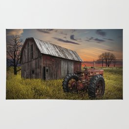 Abandoned Farmall Tractor and Barn Rug