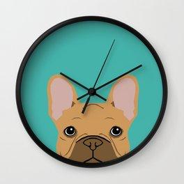 French BUlldog portrait dog breed custom pet portraits by pet friendly frenchie Wall Clock