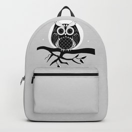 Graphic vector owl on branch in B&W Backpack