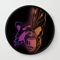 guardians of the galaxy Wall Clocks featuring GUARDIANS OF THE GALAXY by Jorge Daszkal