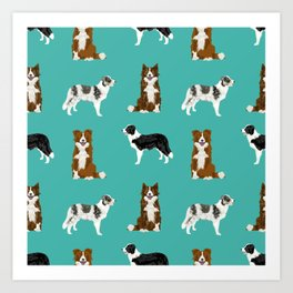 Border Collie mixed coats dog breed pattern gifts collies dog lover Art Print