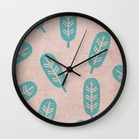feather Wall Clocks featuring Feather by sinonelineman