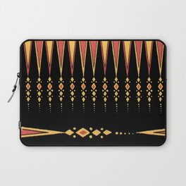 Vintage Tribal Pattern with Art Deco Feel in Orange, Yellow and Black Laptop Sleeve