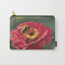 bee on zinnia in the garden Carry-All Pouch