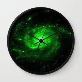 Spiral gAlaXy. Green Wall Clock