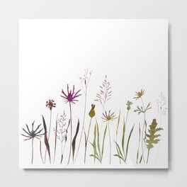 Meadow wild flowers, plants and grasses in watercolor style. Metal Print