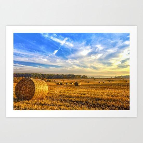 Hay Bales in Autumn Sun Art Print
