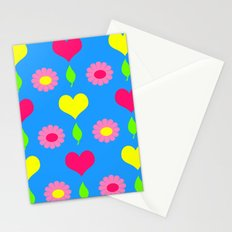 Daisy and heart print, turquoise, pink and yellow Stationery Cards