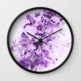 Abstract Cherry Blossom Plaster in Violet Wall Clock
